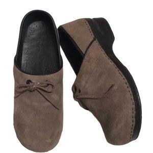 Lands' End Tan/Brown Leather/Suede Clog Mule 9